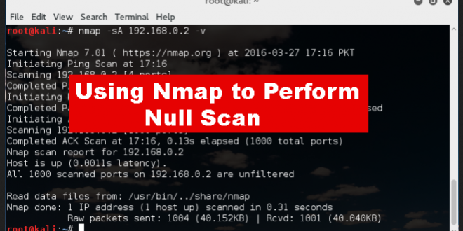 USING NMAP TO PERFORM NULL SCANS