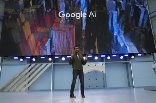 Sundar Pichai, Google's chief executive, at its annual Google I/O developer conference last month in Mountain View, Calif. On Thursday he laid out objectives for the company's use of A.I. technology.