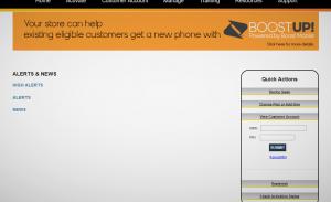 A screenshot showing an internal customer portal.