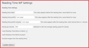 Reading Time WP Settings Plugin