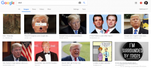 Donald Trump Face Pop up if you Search idiot on Google