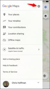 Gear Button Google Maps iPhone