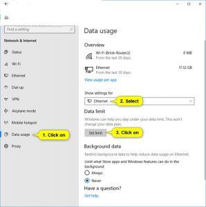 Set Data limit In Windows 10