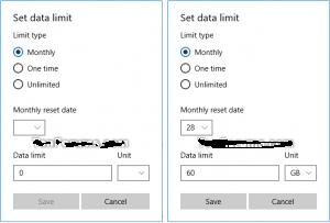 Step Number 3, Set Data Limit Windows 10