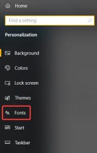 Store Fonts Sidebar
