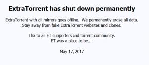 Extratorrent.cc shutdown message