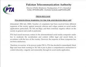 Bigo and TikTok Banned in Pakistan