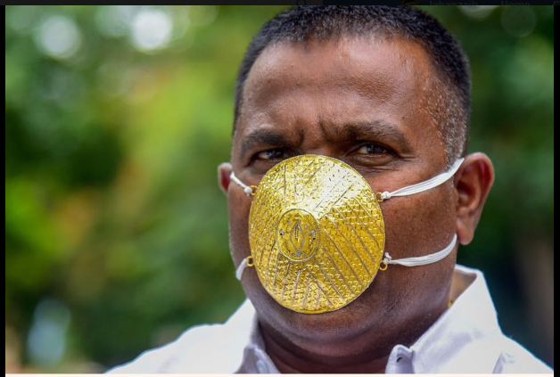 Indian Man Wears Gold Face Mask To Protect Himself From Coronavirus